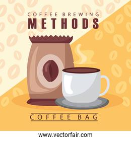 coffee brewing methods poster with bag and cup