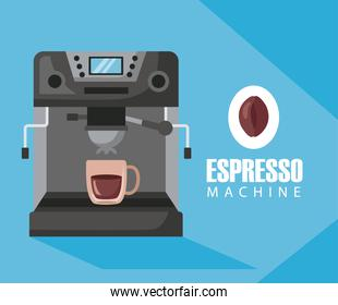coffee brewing methods poster with cup in machine espresso