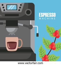 coffee brewing methods poster with cup in machine and plant