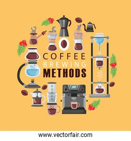 coffee brewing methods poster lettering and set icons