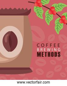 coffee brewing methods poster with bag and beans plant