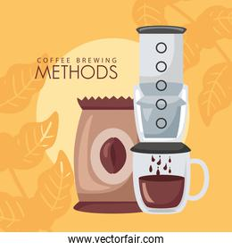 coffee brewing methods poster with bag and maker
