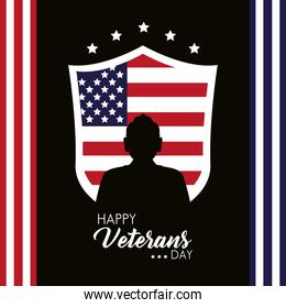 happy veterans day lettering with usa flag in shield and soldier silhouette