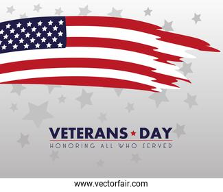 happy veterans day lettering with usa flag painted
