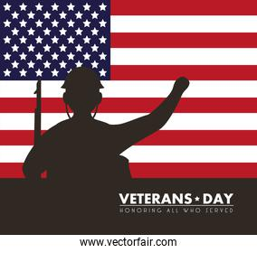 happy veterans day lettering with usa flag and soldier silhouette
