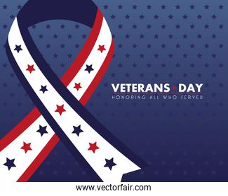 happy veterans day lettering with ribbon campaign and stars pattern