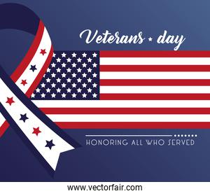 happy veterans day lettering with ribbon campaign and usa flag