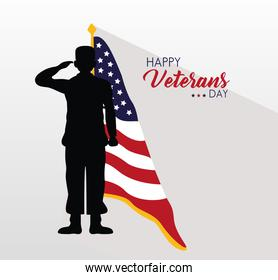 happy veterans day lettering with usa flag and saluting soldier