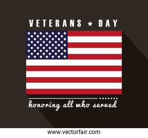 happy veterans day lettering with usa flag in black background