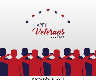 happy veterans day lettering with group saluting soldiers silhouettes