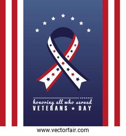 happy veterans day lettering with ribbon campaign and usa flag frame