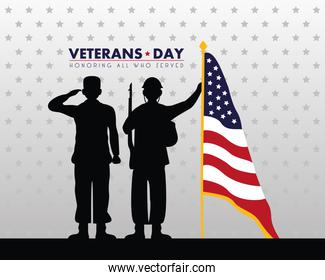 happy veterans day lettering with saluting soldiers silhouettes and flag in pole