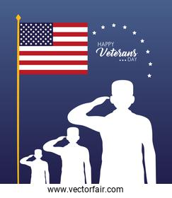happy veterans day lettering with saluting soldiers silhouettes and flag