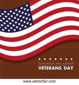 happy veterans day with usa flag in wooden background