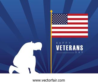 happy veterans day lettering with usa flag in pole with soldier