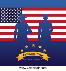happy veterans day lettering with soldiers silhouettes in usa flag