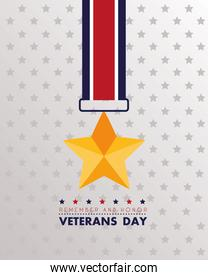 happy veterans day lettering with golden star medal