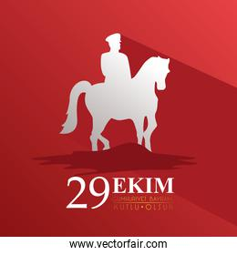 ekim bayrami celebration with soldier in horse silhouette in red background
