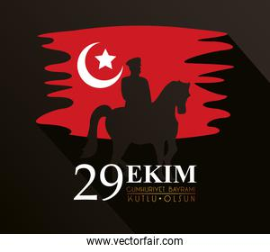 ekim bayrami celebration with soldier in horse silhouette and turkey flag