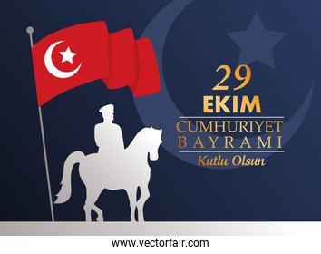 ekim bayrami celebration with soldier in horse silhouette and turkey flag in pole