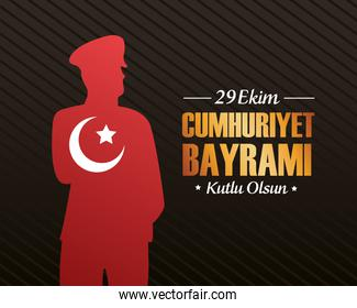 ekim bayrami celebration with soldier silhouette and golden lettering