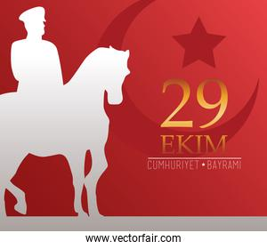 ekim bayrami celebration with soldier in horse silhouette and golden lettering