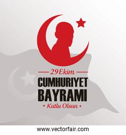 ekim bayrami celebration with person in crescent moon
