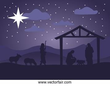 happy merry christmas manger scene with holy family in stable and animals night
