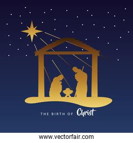 happy merry christmas manger scene with golden holy family in stable silhouette