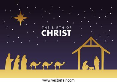 happy merry christmas manger scene with golden holy family and magic kings