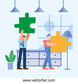 Coworking of men with puzzles at office vector design