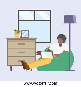black man with laptop working on puf from home vector design