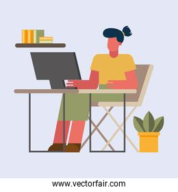 woman with computer working at desk from home vector design