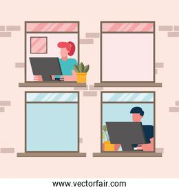 Man and woman with computer working at window from home vector design