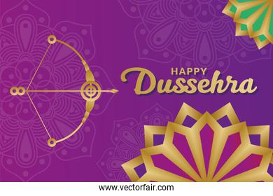 Happy dussehra and bow with arrow on purple mandalas background vector design