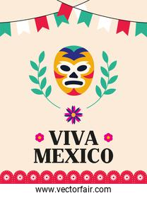 Viva mexico and wrestling mask vector design