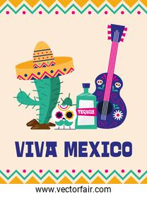 Viva mexico cactus skull tequila and guitar vector design