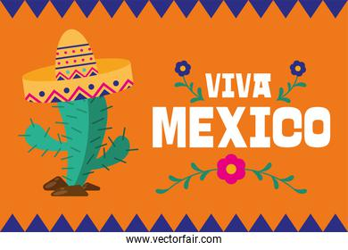 Viva mexico and cactus with hat vector design