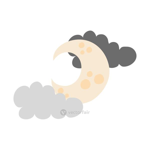 crescent moon and clouds flat style icon