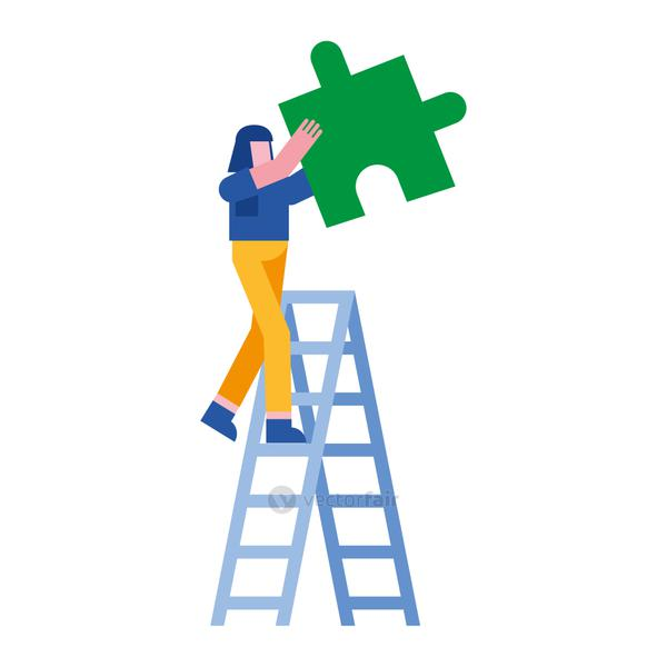 woman with puzzle on ladder vector design