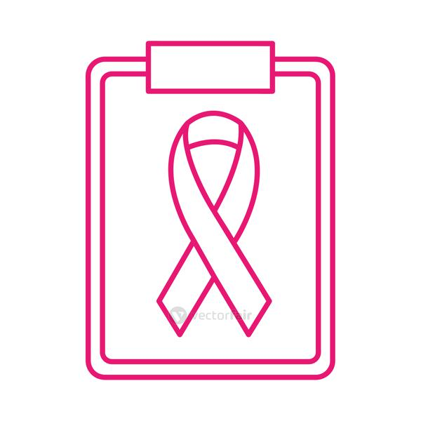 breast cancer ribbon on medical document line style icon vector design