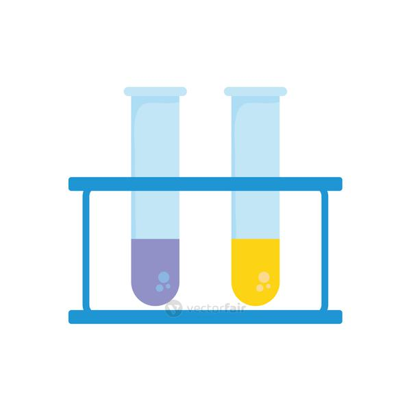 test tubes on stand icon, colorful design