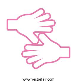 hands human stop pink line style