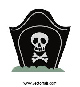 cemetery tomb with skull flat style icon