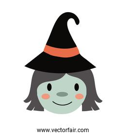 halloween witch with hat flat style