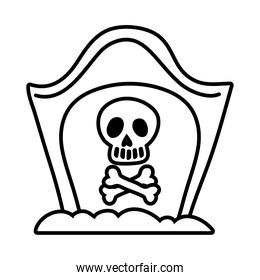 cemetery tomb with skull line style icon