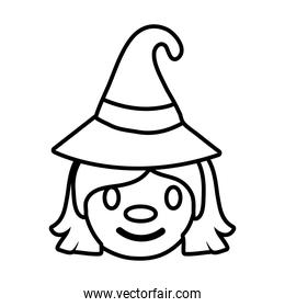 halloween witch with hat line style