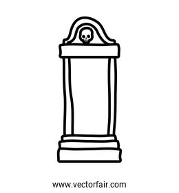 cemetery tomb with skull line style