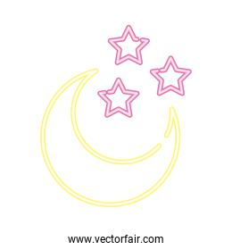 crescent moon and stars neon style icon