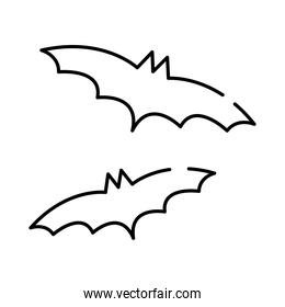 halloween bats flying line style icon